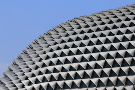 esplanade: The roof of the Esplanade theatre in Singapore. Designed to resemble the durian fruit. Stock Photo