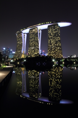 Reflection view of the Marina Bay Sands