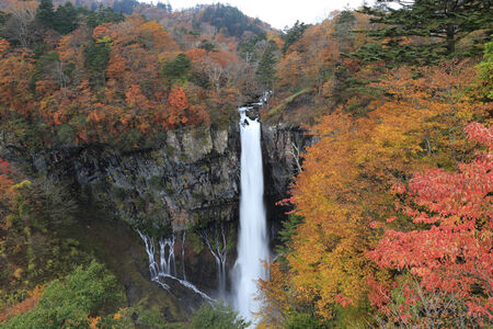 Kegon Falls with autumn leaves in Nikko,Japan  colorful photo