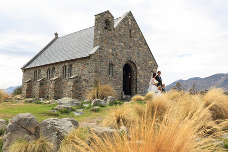 Lake Tekapo weddings at the church of the good shepherd, New Zealand photo