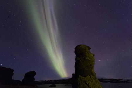 arctic zone: Northern Lights above Myvatn lake,Iceland