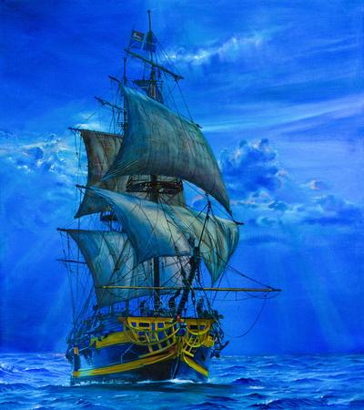 青い海で、帆船の絵。