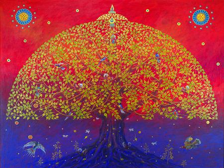 家族: 大きな菩提樹は、幸せの小鳥です。