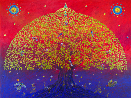 family: A nagy Bodhi fa adja a madarak boldog.