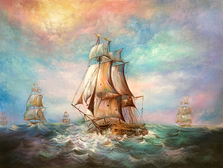 美しい海で、帆船の絵。