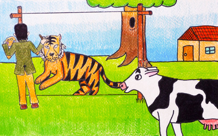 scare: Pencil color painting on paper of The man who draw tiger to scare cattle.
