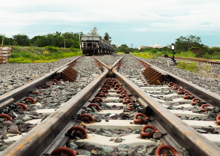 The way forward railway in the cloudy day. Stock Photo