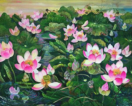 Acryl schilderen op canvas van The Pink Lotus in Vijver.