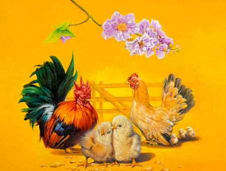 chicken family: The oil painting on canvas of The Chicken Family. Stock Photo