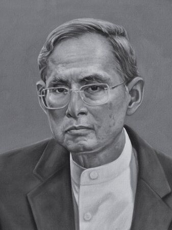 thai style: The oil painting of HM Bhumibol Adulyadej, King of King, King of Thailand.