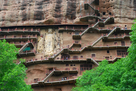 The Maijishan Grottoes along the cliff