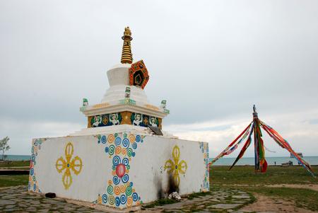 Qinghai Lake white pagoda Wind Horse flag