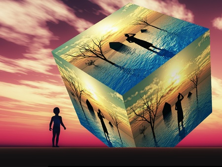 Climate change: Futuristic vision in the view of a little boy: Floods and Tsunamis due to global warming and climate change are threatening mankind
