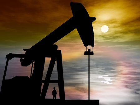 Oil drilling in the ocean is causing environmental problems like pollution Stock Photo - 12035504