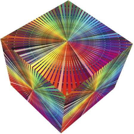 matching: Cubo 3D en colores del arco iris para la preimpresi�n y la imprenta o la decoraci�n