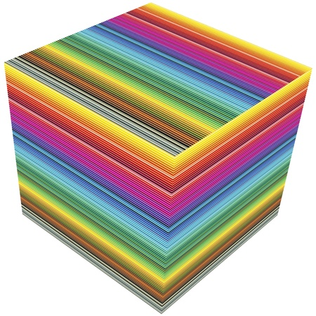 3D cube color guide for prepress and printing business photo