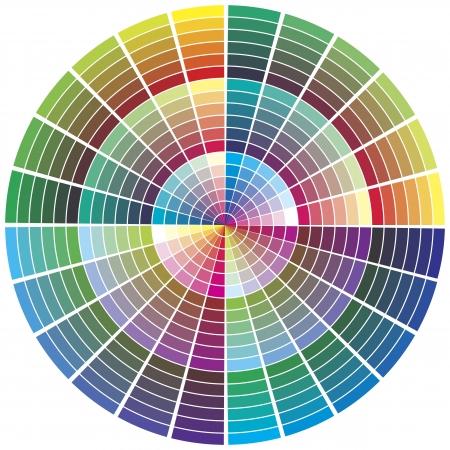 imprenta: paleta de colores. Carta de colores para la preimpresión, la impresión, la teoría del color, calibración de negocio Vectores