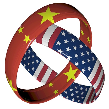 China and America: Symbol for the relationship between the two countries  Фото со стока
