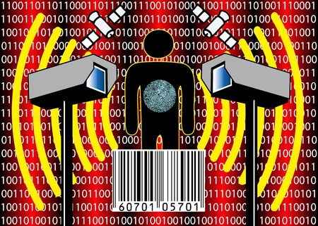 Personal privacy at stake through full body scanner, internet, computer, video and satellite surveillance Stock Photo
