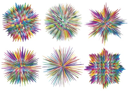 color mixing: Set of vector paint splashes which can be rearranged in hundred different ways