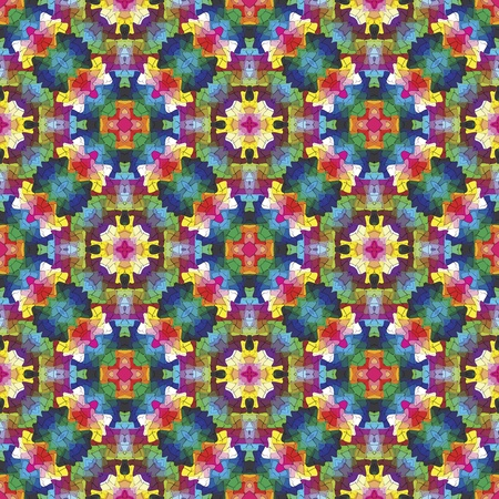 Modern mosaic in oriental style Symmetric vector based ornamental background in vivid colors inspired by Islamic art Vector