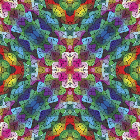 jugendstil: Mosaic  Symmetric vector based ornamental background in vivid colors inspired by Byzantine and Roman style with holy cross in the middle