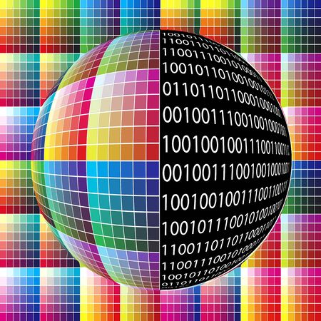 The world of digital imaging technology. The binary code, using 0 and 1, define pixel and consequently digital pictures Stock Photo - 12835946