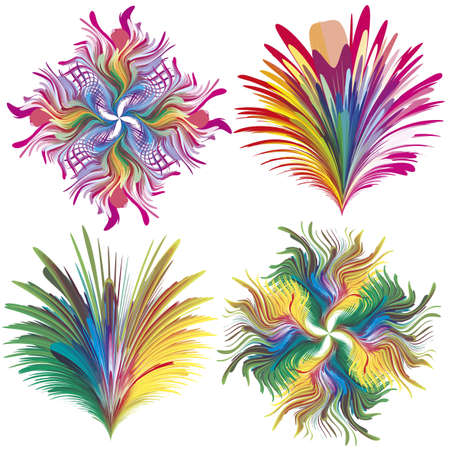 jugendstil: Set of baroque vector flowers in rainbow colors. Elements in rainbow colors perfect for tattoos, decoration, seamless wallpaper, branding, corporate identity
