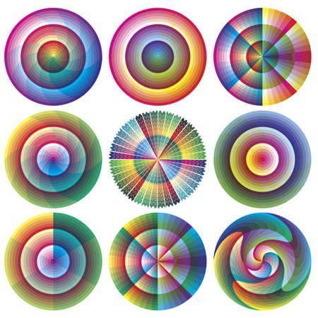 escarapelas: Rosetas vectoriales. Conjunto art�stico dise�ado de roseta vector como s�mbolo de la innovaci�n, la armon�a y la mente creativa Vectores
