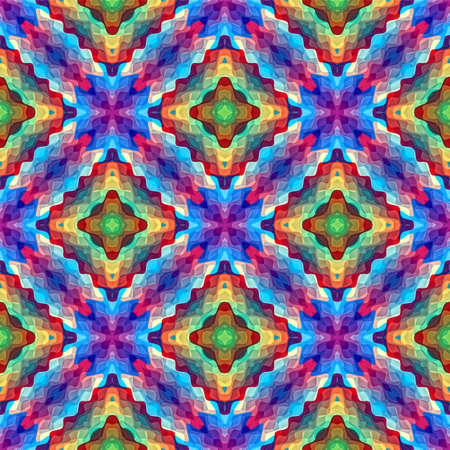 Modern mosaic inspired by antique pattern. Symmetric abstract seamless ornament background in vivid colors Stock Photo - 12835948