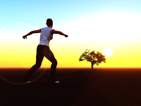 Woman running towards the rising sun. Symbol for a new start, new job, new challenge, new life, new approach photo