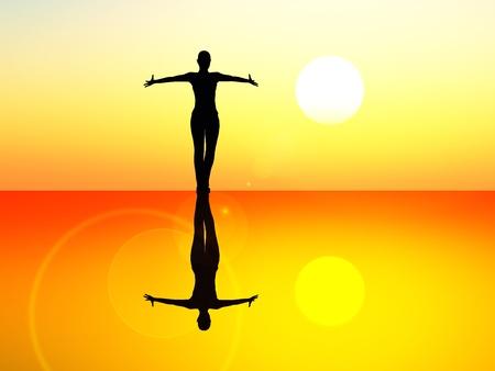 재산, 기쁨, 우아함과 피트니스에 대한 상징으로 떠오르는 태양의 발레 댄서 스톡 콘텐츠