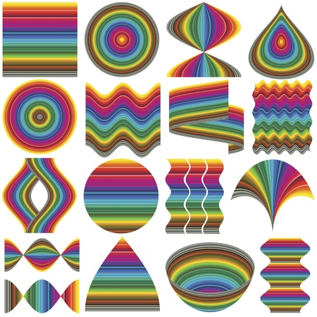 color range: Set of fancy inventive vector elements for business or decoration in full color range. Elements can be rearranged in many ways Illustration