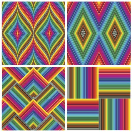 Set of seamless art deco textures and pattern in vivid and bright rainbow colors Stock Vector - 13026180