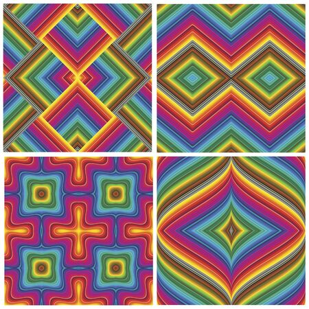 Set of seamless art deco textures and pattern in vivid and bright rainbow colors Vector