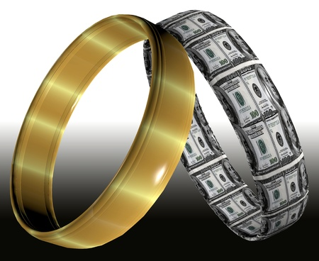 Two different wedding rings symbolizing prenuptial contracts and agreements on the consequences of divorce  photo