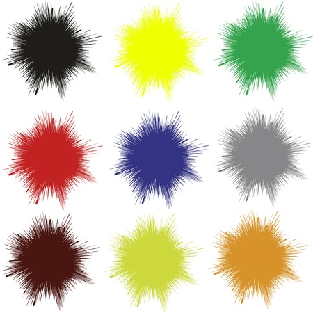 paint drips: Set of unicolored splashes