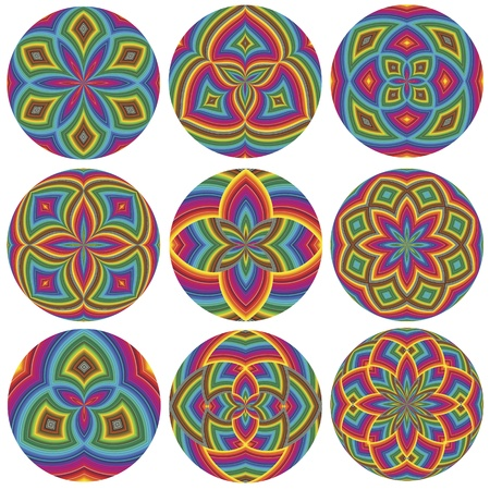Set of colorful wheels as symbol for harmony Vector