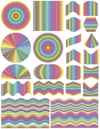 color range: Set of vector design elements in full color range. Unleash your creativity and make your own business cards, seamless, pattern, banner, backgrounds
