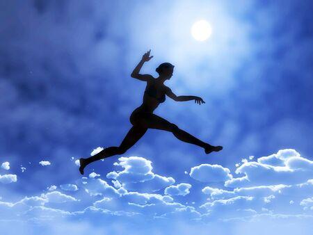 Giovane donna sta saltando sopra le nuvole, simbolo di coraggio, fiducia in se stessi e il successo: si è possibile!