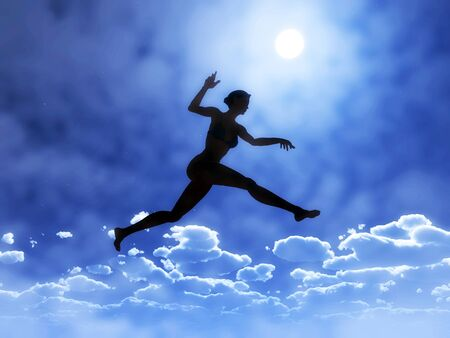 Young woman is jumping above the clouds, a symbol for courage, self confidence and success: yes you can!