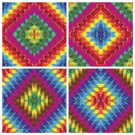 Set of seamless art deco textures or pop art pattern in vivid and bright rainbow colors Vector
