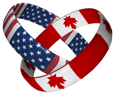 Canada and USA: Symbol for the close relationship between the two countries Stock Photo - 13283745