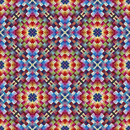 Sophisticated oriental pattern in retro style. Seamless arabesque mosaic in vivid rainbow colors photo