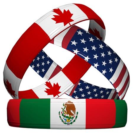 verdrag: NAFTA, de Noord-Amerikaanse Vrijhandelsovereenkomst, drie symbolische trouwringen in de nationale vlag van Canada, Mexico, Verenigde Staten