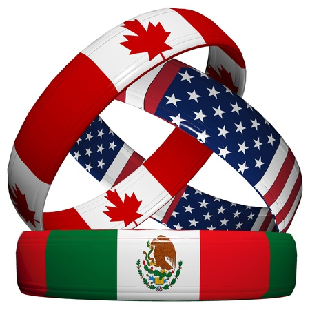 NAFTA, North American Free Trade Agreement, three symbolic wedding rings in the national flag of Canada, Mexico, USA