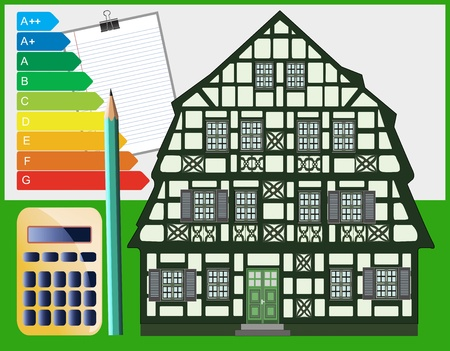 refurbish: Building energy optimization measures must be planned exactly and can safe lots of money  Stock Photo
