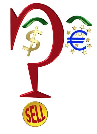 Dollar against Euro. Currency symbols with question mark, when to sell? Stock Photo - 13461329