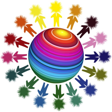 integrated: Winning team in a global world. Conceptual image illustrating diversity and globalization Stock Photo