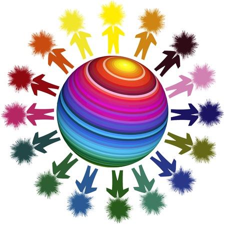 Winning team in a global world. Conceptual image illustrating diversity and globalization Standard-Bild